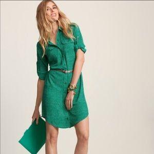 Cabi Emerald Green Button Shirt Dress